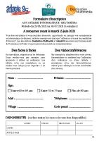 Formulaire d'inscription Ateliers informatiques Juin-2021